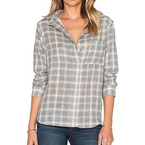 Rag & Bone Leeds Button Up in Charcoal Plaid
